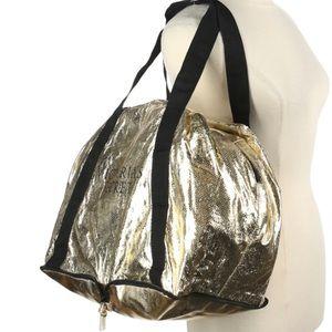 Victorias Secret Gold Packable Shoulder Bag Zipper